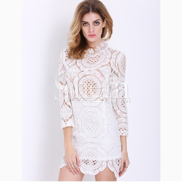 Shein Dresses White Crochet Lace Long Sleeve Mini Dress Poshmark